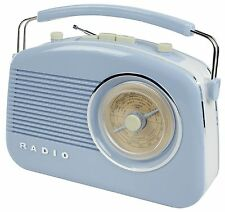 NEW PORTABLE RETRO 1960'S BABY BLUE BATTERY & MAINS OPERATED PORTABLE RADIO