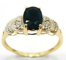NICE 10KT YELLOW GOLD OVAL SAPPHIRE & DIAMOND RING SIZE 7   R1006
