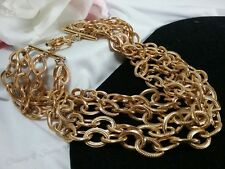 Vintage Gold Anne Klein Huge Multi Chain Haute Couture Runway Chunky Necklace