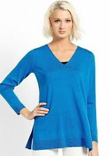 sz PL new Eileen Fisher Merino Jersey V Neck Tunic/Sweater, Crystal Blue,
