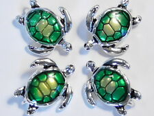 4-2 HOLE SLIDER, CONNECTOR BEAD ENAMEL SEA TURTLE LOGGERHEAD ANTIQUED SILVER