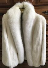 Luxury White Mink and Fox Real Fur Coat Size 8 Original Price $1,295
