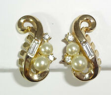 CROWN TRIFARI A PHILIPPE PAT PEND 1954 MERMAID Faux Pearl & Rhinestone Earrings