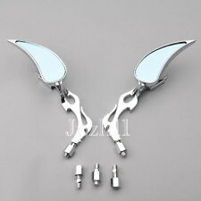 Motorcycle Rearview Chrome Flame Teardrop Side Mirrors Blue Glass 8mm 10mm J7B