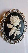 Beautiful White Rose Cameo Brooch Medieval Pin Pagan Gothic Wedding Wedding