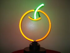 Red Apple / Cherry Sculpture Table Top Real Neon Lighted Sign Lamp