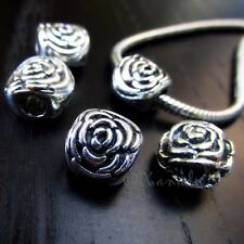 10PCs Wholesale Rose Flower European Beads - Floral Spacers For Charm Bracelets
