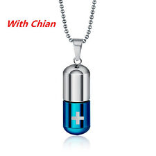 Fashion Blue Pills Capsules Perfume Bottle Open Silver Titanium Steel Pendant