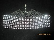 "1.5"" thick Sparkly Black Silver Crystal Rhinestone choker necklace celebrity HOT"