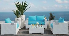 New Caribbean Style White Wicker Outdoor PE Rattan Wicker Furniture Garden Set