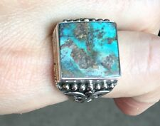 Handmade Turquoise Ring Turkish Jewelry Gemstone Square 925 Sterling Silver 10.5