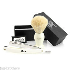 WHITE Badger Hair Brush,STRAIGHT CUT THROAT RAZOR(WHITE) GIFT BOX FOR MEN
