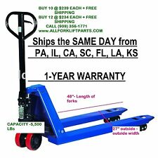 "PALLET JACK / HAND TRUCK 5500 LBs 27"" X 48"" NEW 1-YEAR WARRANTY FREE SHIPPING"