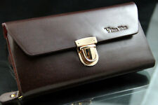 Brand New Men Real Leather Long Wallet Purse Handbag Briefcase Brown Clutch Bag