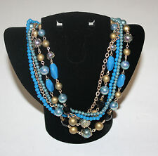Multi Strand Blue Beaded Gold Chain Statement Necklace