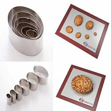 "Oval Shape Steel Cookie Cake Fondant Cutter 1"" deep set of 6"