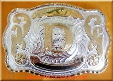 "NEW INITIAL "" D ""  RODEO BIG COWBOY WESTERN BELT BUCKLE"