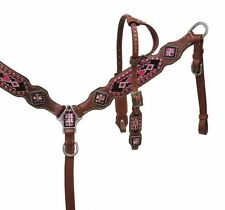 Pony Pink Navajo Beaded Inlay One Ear Leather Headstall Breast Collar Set