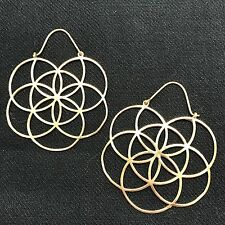 Flower of Life Sacred Geometry Large Tribal Hoop Earrings in Brass