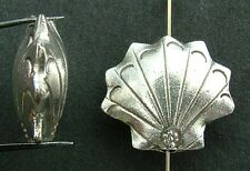 Sterling Silver Bead Clam Shell Plain 18mm  x 1
