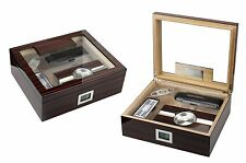 The Kensington Cherry Ebony 75 Count Humidor Gift Set Ashtray Cigar Case Cutter