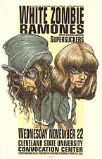 MINT & SIGNED Ramones White Zombie 1995 Cleveland Hess Poster 27/700