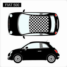 Fiat 500 Chequered Check Roof Custom Car Stickers Decal Vinyl Graphics NEW