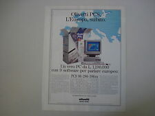 advertising Pubblicità 1991 PC OLIVETTI PCS
