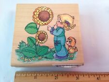 Stampendous UQ003 Precious Moments Sky's the Limit Sunflowers Dog Rubber Stamp
