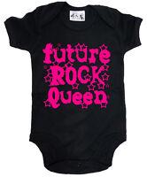"""DF """"Future Rock Queen"""" Baby Girl Bodysuit Baby grow Vest  Rock Music"""
