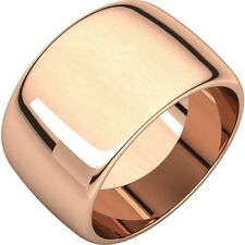 14K Gold Ring SALE! 15mm 14K Rose Gold Wide Cigar Band Dome Ring