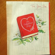 Vintage 1940's For You, Son On Valentine's Day FORGET-ME-NOT Greeting Card