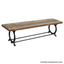 "70"" Lng Bench Black Iron Base Sold Reclaimed Wood Top Natural Tones Rustic Charm"