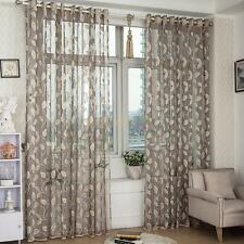 Leaf Pattern Eyelet Voile Curtain Window Drapes Panel Sheer Tulle Valance Grey
