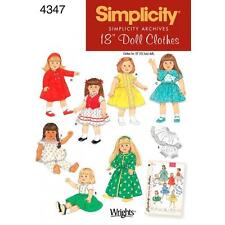 "SIMPLICITY SEWING PATTERN ARCHIVES 18"" DOLL CLOTHES 4347"