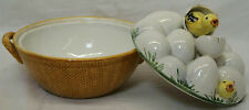 """7.25"""" VINTAGE CERAMIC EGG HOLDER BOWL WITH LID BABY CHICK DESIGN MADE IN ITALY"""