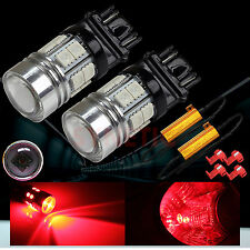 2x 3157 High Power CREE Red Turn Signal Blinker LED Light Bulbs + 2 Resistors