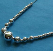 new 925 STERLING SILVER graduated bead chain necklace & designer gift box -KW1