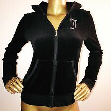 Juicy Couture Black Velour Full Zip Hooded Jacket Hoodie Glitter Logo Size M
