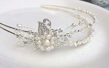 DESIGNER DOUBLE HEADBAND BRIDAL SIDE TIARA HANDMADE PEARL DIAMANTE & CRYSTAL