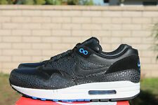 NIKE AIR MAX 1 DELUXE SZ 10 2014 SAFARI BLACK HYPER COBALT BLUE 684708 001