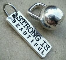 STRONG Is Beautiful Tag Kettlebell Swing Weight Workout Fitness Charms Pendants