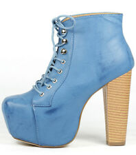 Faux Leather Lace Up High Chunky Heel Hidden Platform Bootie Boot Shoes