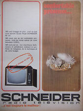 PUBLICITÉ DE PRESSE 1966 SCHNEIDER RADIO TÉLÉVISION - CHAT - ADVERTISING