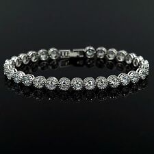 7.5 In White Gold GP Round Cut Clear Cubic Zirconia CZ Tennis Bracelet 05307