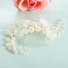 Bridal Wedding Flower Pearl Crystal Rhinestone Hair Clip Women Comb Pin Headband