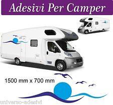 """2 SET Adesivi per Camper - ONDE SOLI E GABBIANI 150x70 CENTIMETRI """"GRANDE"""""""