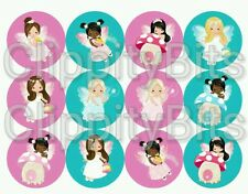 """50 x 1"""" Inch Pre Cut Bottle Cap Images Fairy Toadstool Girls Mix Crafts Bows pic"""