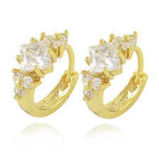 9K Yellow Gold Filled Square clear Rhinestone womens small Hoop Flower Earrings