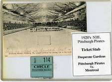 1920's NHL Pittsburgh Pirates Ticket Stub-Pits vs Montreal-Duquesne Gardens RARE